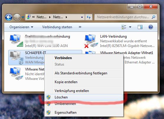 Vorhandene Vpn Verbindung Unter Windows 7 L 246 Schen